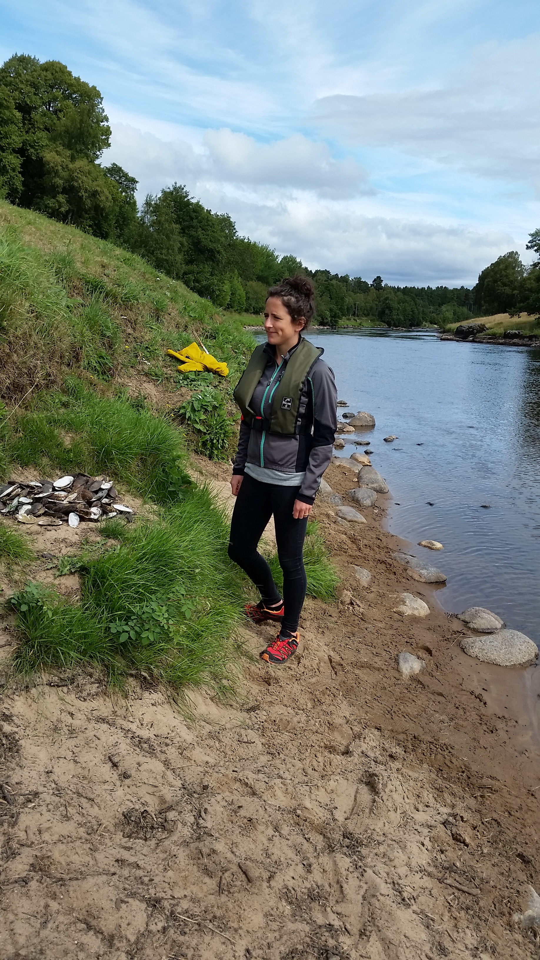 Mairi Gougeon on the river bank